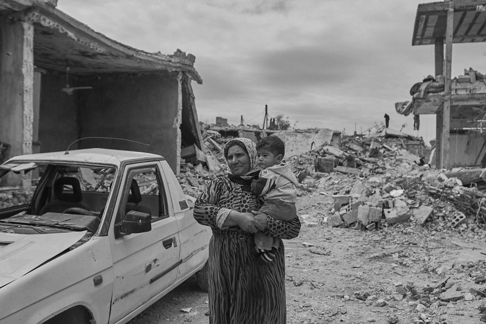 Trümmern der Stadt Kobane
