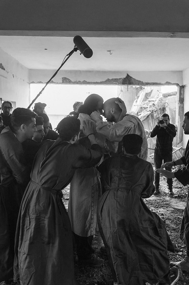Proben und Filmaufnahmen zu Orestes in Mossul.